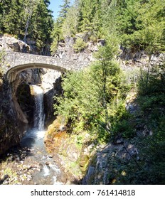 Bridge over Lower Christine falls  in Mount Rainier National Park
