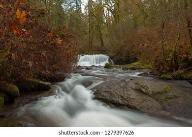 Bridge over McDowell Creek Falls in Oregon County Park during winter
