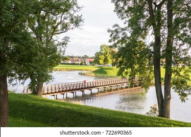 Bridge over the moat, in the old town in Fredrikstad, Norway