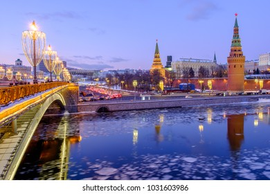 Bridge over moscow river, Kremlin, winter