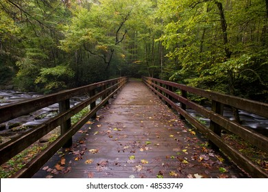 Bridge over mountain stream in Great Smoky Mountains national park