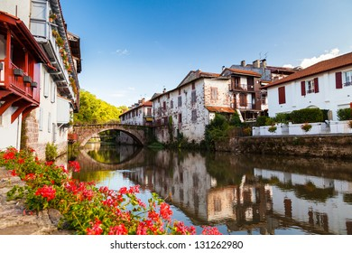 Bridge over the Nive river at Saint Jean Pied de Port, Pays Basque, France