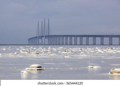 The bridge over Oresund between Copenhagen Denmark and Malmo Sweden, Oresundsbron in a winter landscape