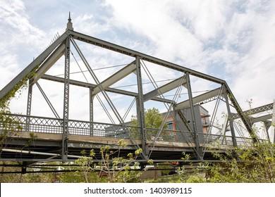 Bridge over Platte River in Confluence Park, part of the Riverfront Park neighborhood in downtown Denver, Colorado.