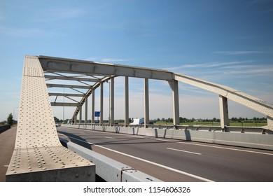 Bridge over the railway tracks at Moordrecht in motorway A20 in the Netherlands.