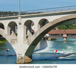 Bridge over the Reuss river in the town of Bremgarten in the Swiss canton of Aargau.