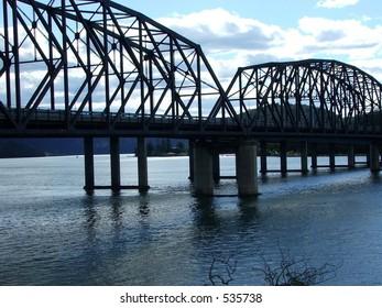 a bridge over the river
