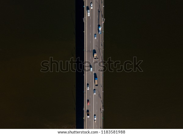 Bridge over the river from aerial view