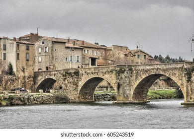 Bridge over the river Aude in Limoux, Occitanie in south of France