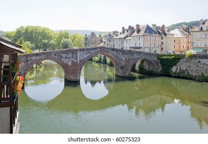 The Bridge over the river Lot at Espalion Village, Southern France