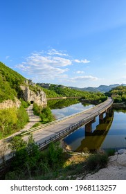 The bridge over the river front of the Wonderful Rocks or Chudnite Skali, near Asparuhovo village, Bulgaria. Rock-phenomenon - Shutterstock ID 1968113257