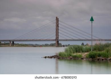 Bridge over river IJssel near Kampen, The Netherlands