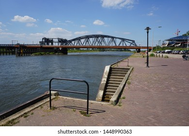 Bridge over river Ijssel, part of Rhine delta, at the historic town of Zutphen in the East of the Netherlands
