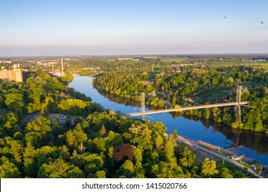 Bridge over the river. Landscape shot from drone. Zhytomyr, Ukraine