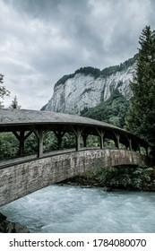 bridge over river in Lauterbrunnen, Switzerland