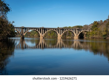 bridge over river with reflections