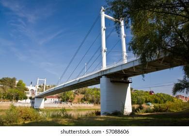 Bridge over the river of Ural in Orenburg, Russia