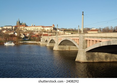 Bridge over river Vltava with view to Prague castle