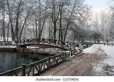 Bridge over river in winter season