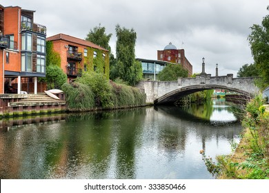 A bridge over the river Yare at Norwich city centre in Norfolk