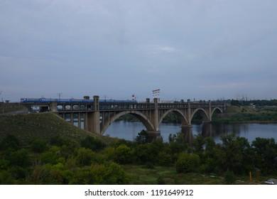 Bridge over the river, Zaporozhye, Ukraine