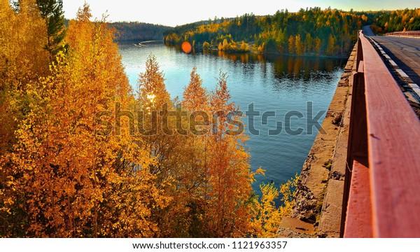 bridge over the Siberian river Ilim