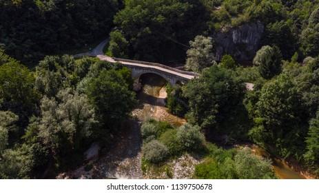 bridge over the small river in nature