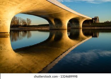 Bridge over the Spiegelwaal, Nijmegen, during golden hour