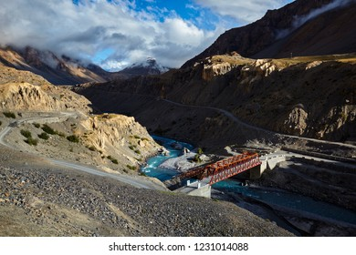 Bridge over Spiti river in Himalayas on sunset. Spiti Valley, Himachal Pradesh, India