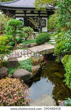 Bridge Over Spring Zen Garden Stock Photo Edit Now 390488458