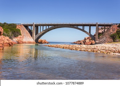 Bridge over the Steenbras River flowing from the Hottentots-Holland Mountains in Gordons bay, Cape Town, South Africa