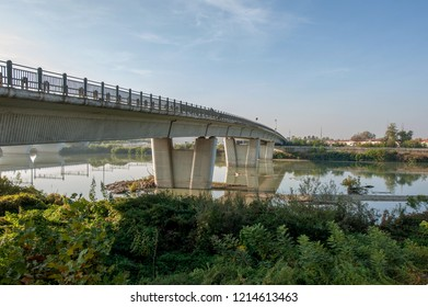 bridge over the tanaro river in alexandria piedmont