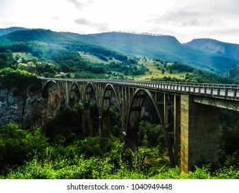 The bridge over the Tara Canyon river in the Durmitor National Park, Montenegro