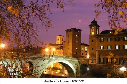 Bridge over Tiber River, Rome, Italy