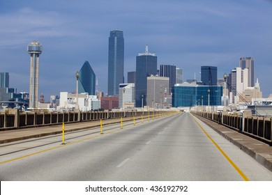 Bridge over the Trinity River to downtown Dallas, Texas with no cars