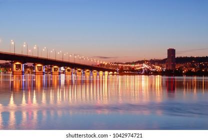 Bridge over the Volga River. The City of Saratov and Engels