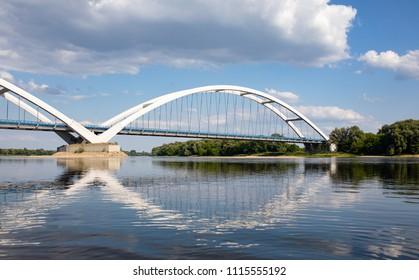 Bridge over the Wisla river in Torun, Poland.
