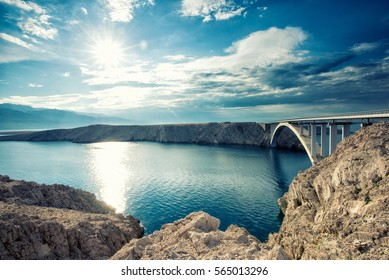 Bridge to Pag island in Croatia, Mediterranean sea panorama
