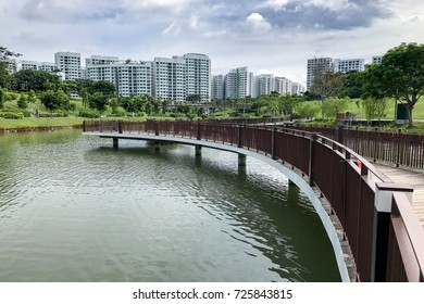 bridge and park at Singapore Public Housing Apartments in Punggol District, Singapore. Housing Development Board(HDB)