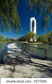 bridge pathway to famous white Carillion in Canberra