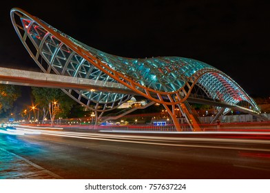 Bridge of Peace in Tbilisi colorful lights at Night