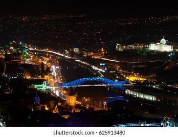 Bridge of Peace in Tbilisi at night