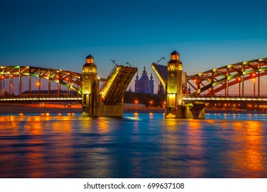 The Bridge of Peter the Great. Bridge in St. Petersburg. Bolsheokhtinsky Bridge. Drawbridge..