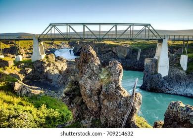 Bridge and picturesque Icelandic landscape.
