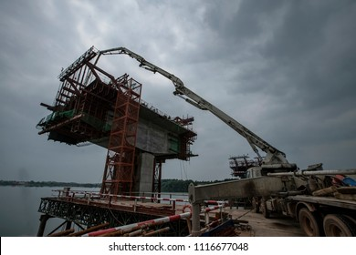Bridge pier under construction on a highway bridge