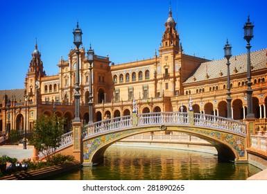 bridge of Plaza de Espana (square of Spain), in Seville, Spain, retro toned