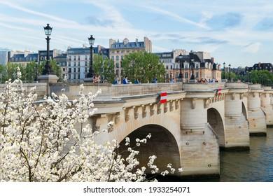 bridge Pont Neuf and Seine river at spring day, Paris, France