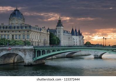 The bridge Pont Notre Dame over river Seine in Paris, France.
