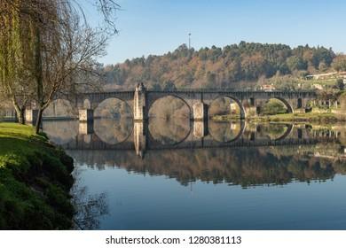 Bridge of Ponte da Barca, ancient portuguese village, on Minho river, north of Portugal