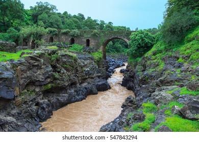 Bridge of the Portuguese on the river Blue Nile. Ethiopia